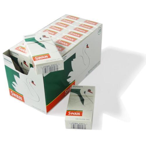 120 Filtri x 20 Salvadanai Swan Mentolo Sigarette Puntali con Filtro