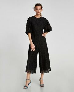 Cropped Lace New Black Zara Size S Jumpsuits Aw17 Nwt HqpwwdW71