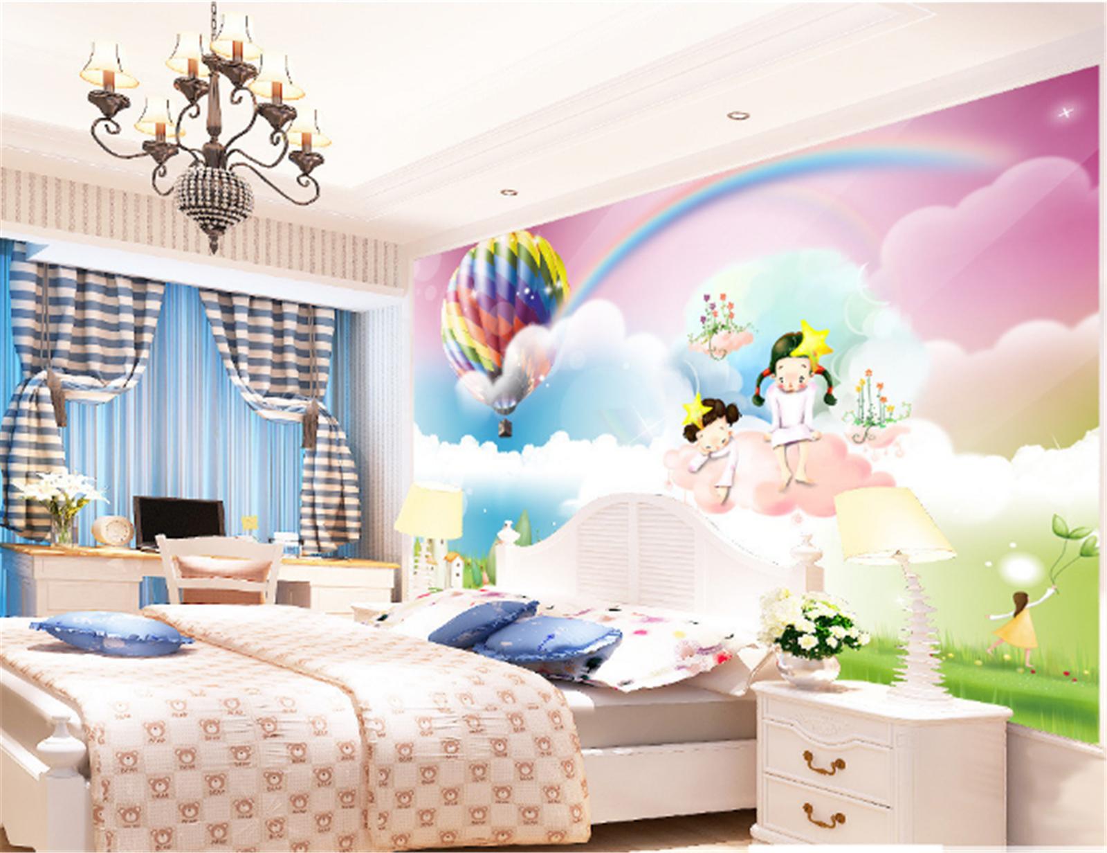 3D Heißluftballon Mädchen 8085 Tapete Wandgemälde Tapeten Bild Familie DE Summer | Stil  | Spielzeugwelt, glücklich und grenzenlos  |