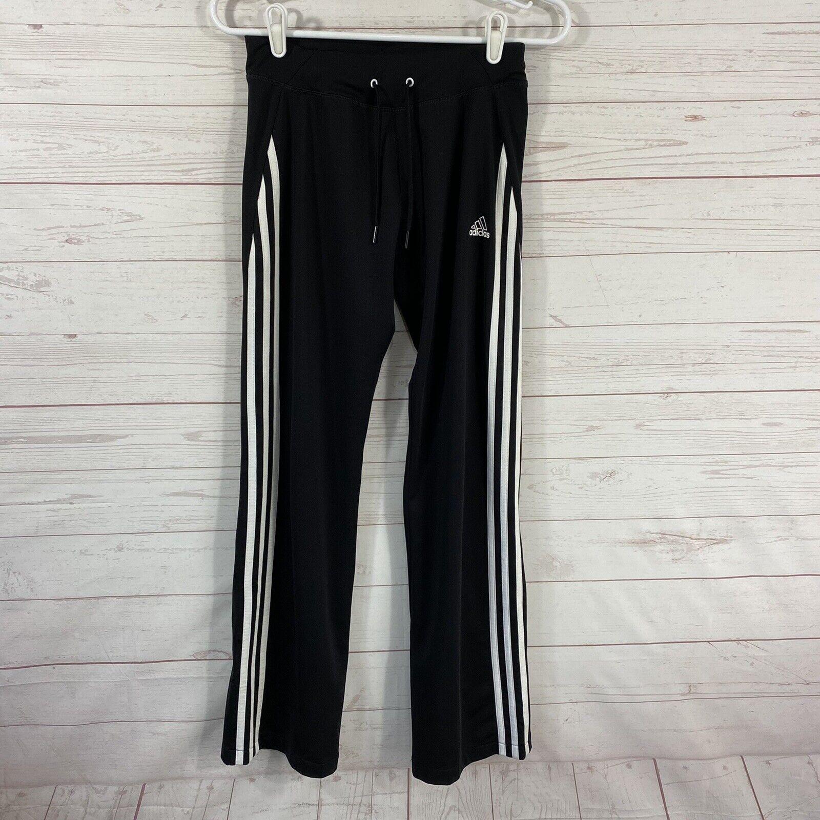 Adidas Womens Straight Leg 3-Stripe Sweatpants Size Small Black Drawstring 26x32