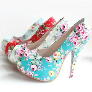 Womens Floral Pattern Peeptoe Gardens Platform High Heels Shoes Size 3006#
