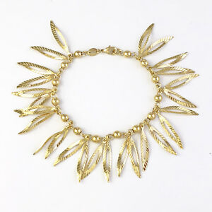 14k-Gold-Filled-Bracelet-Golden-Leaf-Nature-Charms-Jewelry-Women-7-034-Pulsera-Oro