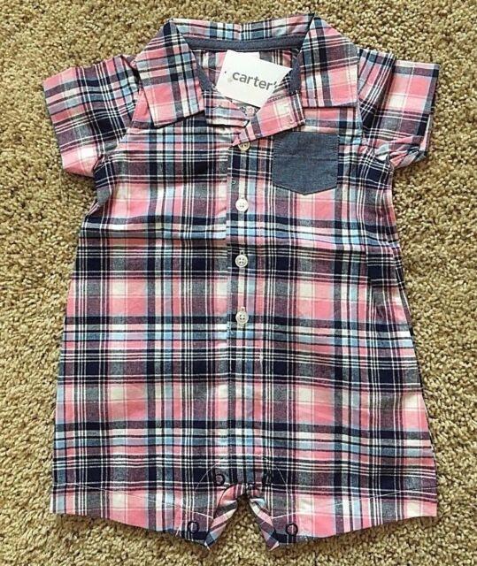 5c15e2623455 Carter s Baby Boy Blue   Pink Short Romper Size 12 Months