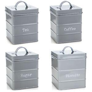 Kitchen Storage Set in Vintage Metal - Tea Coffee Sugar Biscuits Grey Canisters