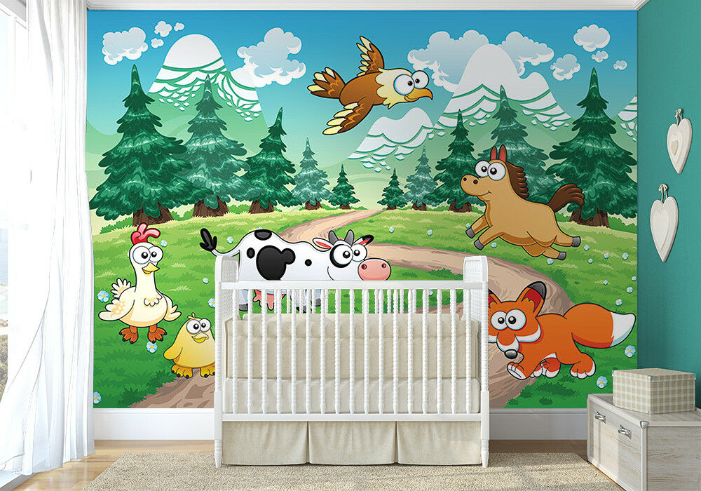 254x183cm Large Wall mural photo wallpaper Baby room Nursery decor animals farm