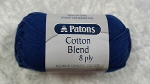 Patons-Cotton-Blend-8-Ply-23-Royal-Blue-Cotton-Acrylic-50g