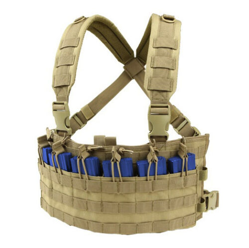 CONDOR-MOLLE-Nylon-Rapid-Assault-Rifle-Mag-Holder-Chest-Rig-mcr6-COYOTE-TAN
