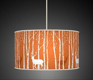 Burnt orange stag deer trees handmade lampshade fabric pendant light image is loading burnt orange stag deer trees handmade lampshade fabric aloadofball Images