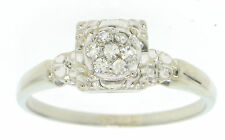 Antique Art Deco 14k White Gold 0.18ctw Pave Cluster Single Cut Diamond Ring