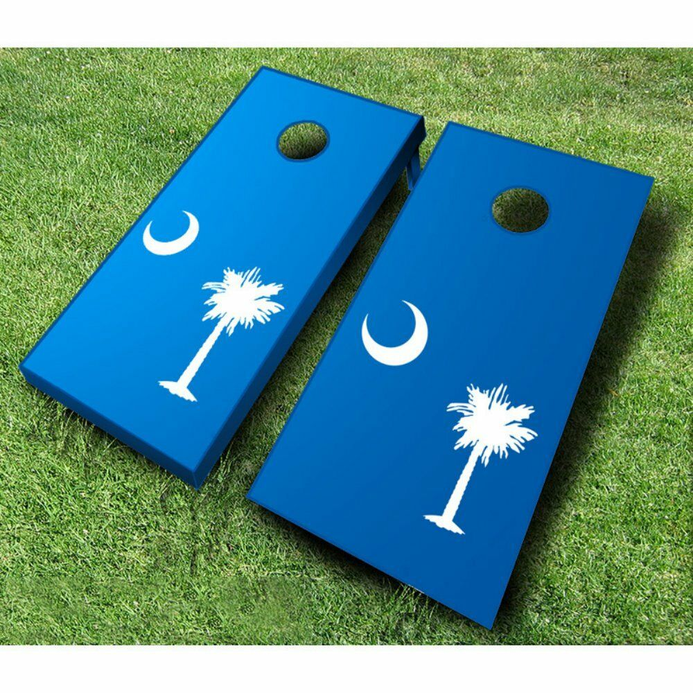 South Carolina  Flag Tournament Cornhole Set, White & Baby bluee Bags  new sadie