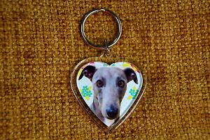 Whippet-Gift-Keyring-Dog-Key-Ring-heart-shaped-gift-Free-UK-postage-Valentine
