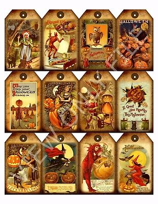 78 12 Primitive Halloween Hang Tags Scrapbooking Paper Crafts