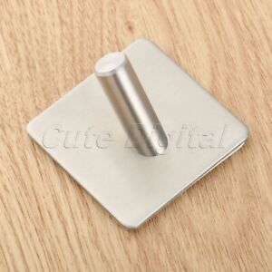 Stainless-Steel-3M-Self-Adhesive-Hook-Hat-Key-Rack-Bathroom-Kitchen-Towel-Hanger