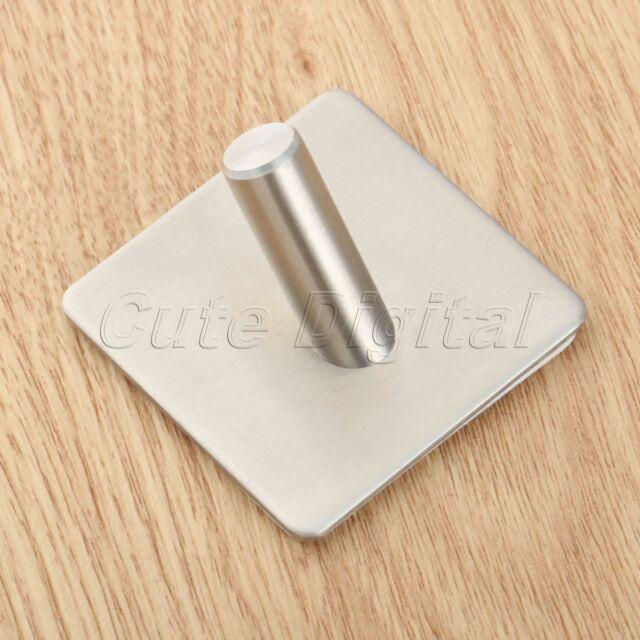 Stainless Steel 3M Self Adhesive Hook Hat Key Rack Bathroom Kitchen Towel Hanger
