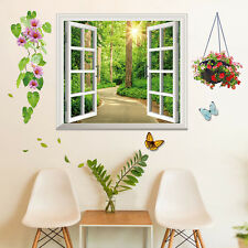Tree-lined Trail Fake Window Removable Wall Sticker Art Decals Mural Home Decor