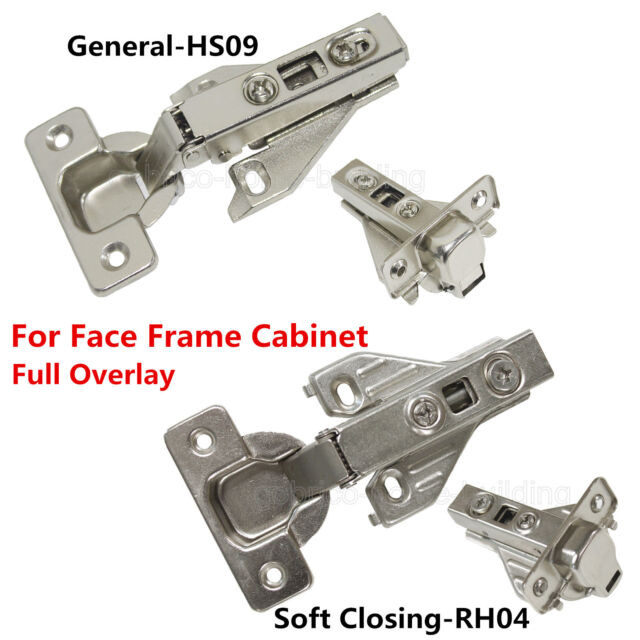 Hidden Face Frame Kitchen Cabinet Door Hinges Clip On Soft Closing Full Overlay