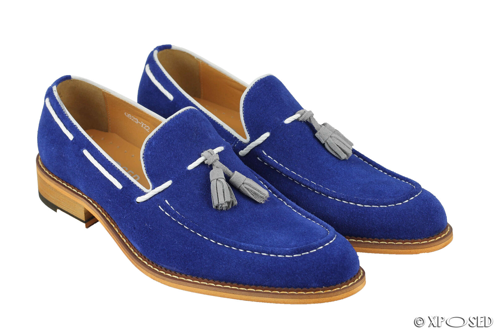 Mens Blue Real Suede Leather Vintage White Rope Tassel Loafers Slip on Shoes