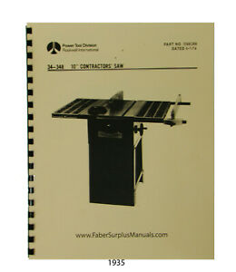 Details About Rockwell 10 Contractors Table Saw 34 348 Operator And Parts Manual 1935