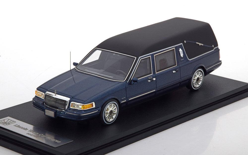 LINCOLN TOWN CAR CORBILLARD HEARSE 1997 blu METAL GLM 43102702 1 43 RESINE blu