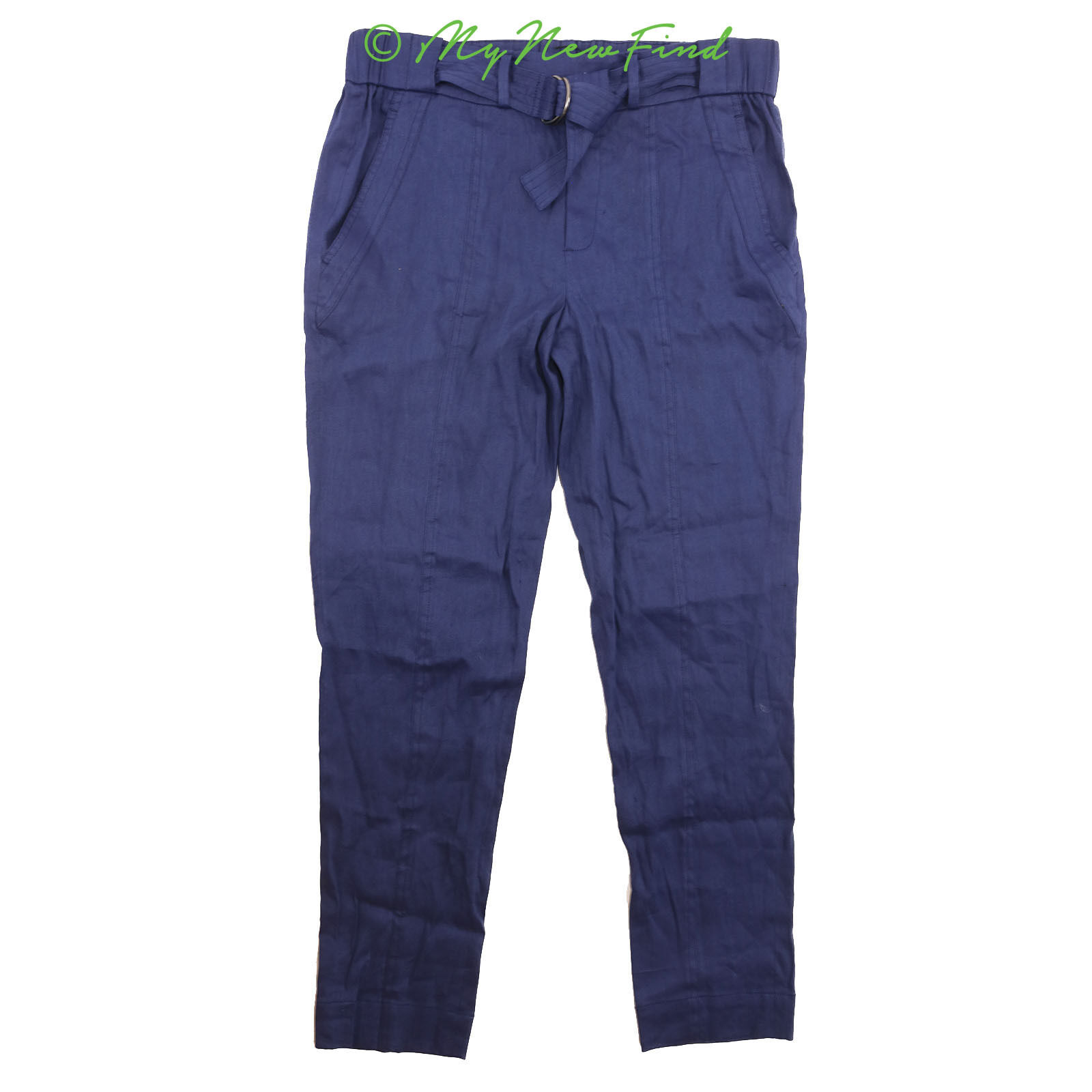 7b220cbbd7ac7 Vince Belted Casual Pants Size Linen Blend Trousers Cuffed Hem bluee 255  B84 6 nrctnv7456-Trousers