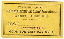 xRARE - Wayne County - Sodus NY Civil War - GAR Veteran Soldier Pass Ticket 1886