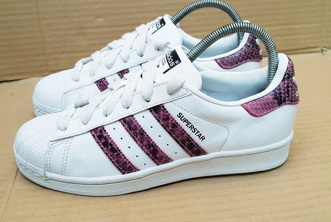 Adidas Superstar Baskets blanc marron serpent taille 4 UK Excellent rare design