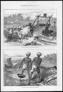 1874-Antique-Print-INDIA-Famine-Bengal-Irrigation-Indian-Mode-Cattle-15