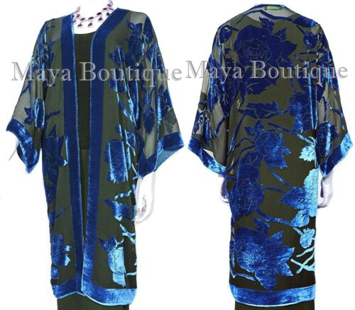 Blue Long Kimono Jacket Silk Burnout Velvet No Fringe Maya Matazaro