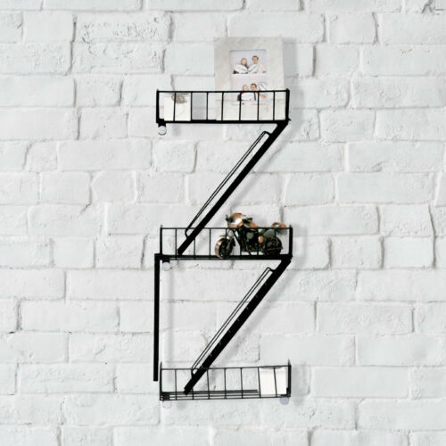 Vintage New York Fire Escape Floating Wall Shelves Bathroom Shelving Unit Black