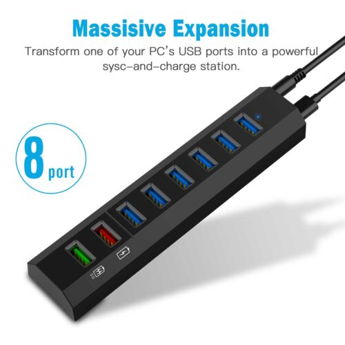 8-Port Type-C Hub Data USB3.0 Hub High Speed Adapter with Charging Port