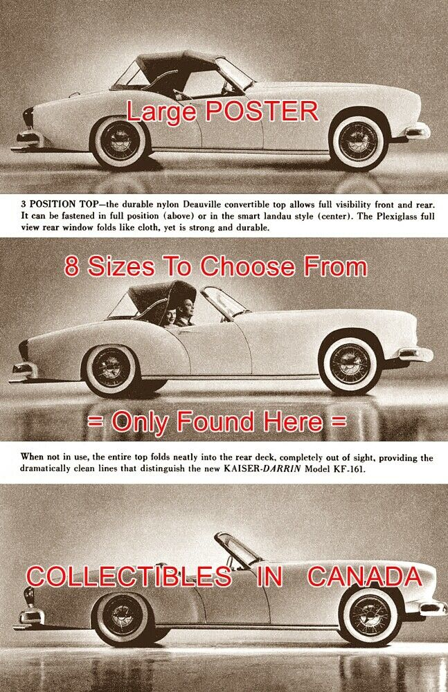 KAISER DARRIN 1954 Top Up & Down CAR Auto = POSTER Not Brochure 8 GrößeS 18 -36