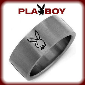 Mens-Playboy-Ring-Stainless-Steel-Bunny-Logo-Wide-Band-Silver-Black-9-10-NEW-NWT