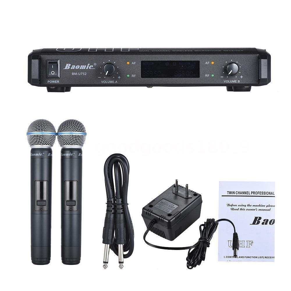 1 Set UHF a Doppio Canale Digital Wireless Sistema di Karaoke Microfono Hot J6N1