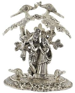 Radha Krishna Tree White Metal Sitting Antique Under God Idol Lord