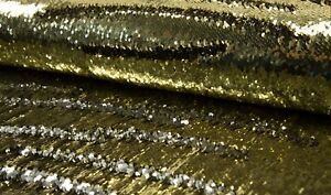 Two-Toned-Mermaid-Fish-Scale-Sequin-Fabric-Material-GOLD-SILVER