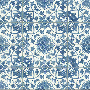 Image Is Loading Mediterranean Blue Tile Wallpaper Kitchen And Bathroom Tiling