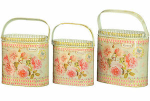 set of 3 French country planter vintage painted metal decorative bucket pots