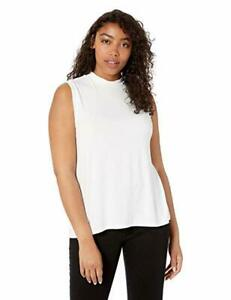 Daily-Ritual-Women-039-s-Jersey-Sleeveless-Boxy-Neck-Shirt-White-X-Small