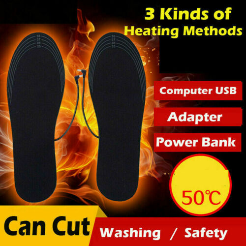 Men Women Electric Heated Insole USB Rechargeable Foot Warmers Washable Cuttable