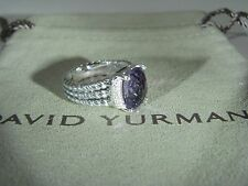 AUTHENTIC DAVID YURMAN SILVER 10X8MM AMETHYST PETIT WHEATON DIAMOND RING SIZE 5