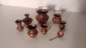 Miniature-Dollhouse-Vintage-Artisan-Copper-Dishes-Heavy-Duty-8-Pieces