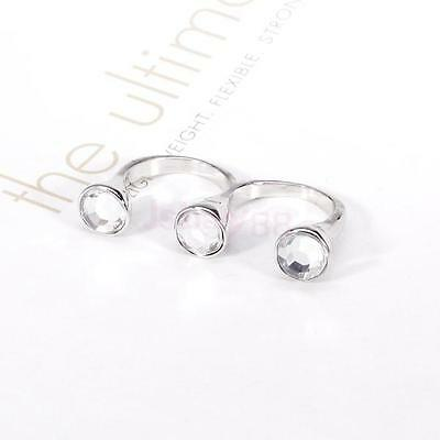 Women Ladies Silver Three Charm Acrylic Beads Two Double Finger Open FINGER Ring