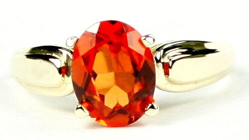 Created Padparadsha Sapphire 10KY or 14KY Gold Ring R058-Handmade