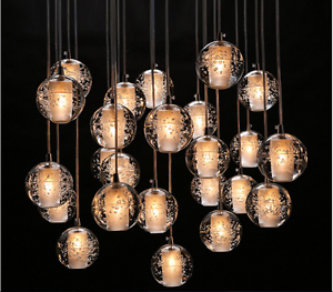 Crystal glass ball pendant ceiling light lamp free led g4 bulbs image is loading crystal glass ball pendant ceiling light lamp free aloadofball Image collections