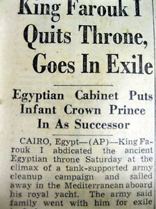 2-1952-newspapers-KING-FAROUK-of-EGYPT-abdicates-afterGAMAL-NASSER-military-coup