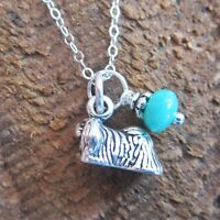 Pekingese Glass Bead Sterling Silver Necklace - Free Shipping