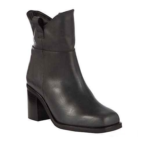 John Lewis Black Leather Short Shanghai Block Heel Boots UK 5 6 7 8   NIB