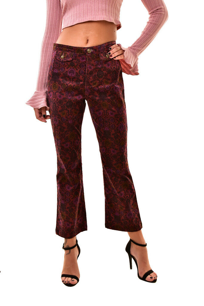 Free People Womens Tailored Cropped Flare Pants Multi Size US 4 RRP  BCF811