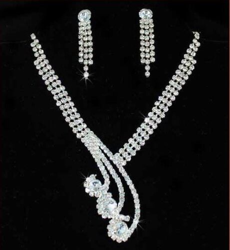 PRINCESS CLEAR AUSTRIAN RHINESTONE NECKLACE EARRINGS SET BRIDAL WEDDING N55GOLD