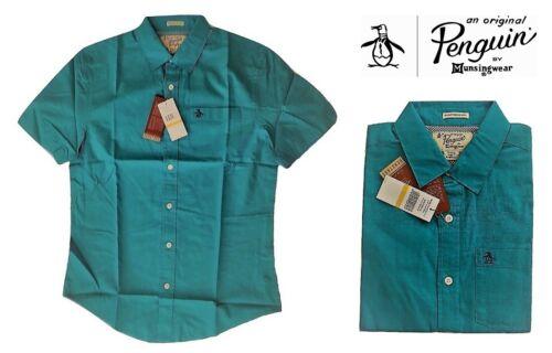 Men/'s Original Penguin Heritage Geo Print Camicia Turchese Blu Taglia Small
